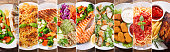 collage of various plates of food, top view