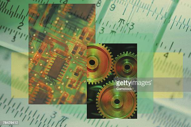 Collage of slide rule with gears and computer chip