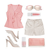 Collage of summer women clothes and accessories isolated on white