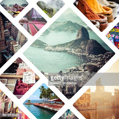 Collage of travell images - travel background : Stock Photo