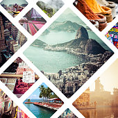 Collage of travell images - travel background