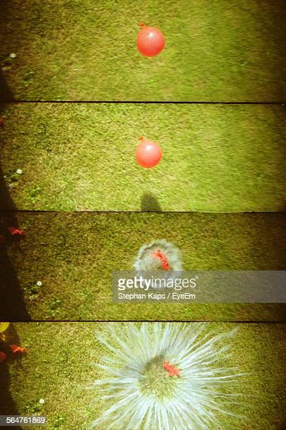 Collage Of Water Balloons Burst On Floor