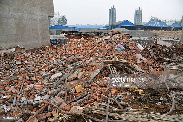Collapse site of a house reconstructing project happened Friday afternoon in Wuyang County on October 31 2015 in Luohe Henan Province of China Forty...