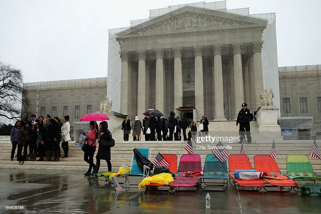 Collapseable beach chairs are lined up by demonstrators in front of the U.S. Supreme Court March 25, 2013 in Washington, DC. Dozens of people are waiting in line for a chance to attend the court's hour-long argument on Tuesday morning over the constitutionality of Proposition 8, California's ban on same-sex marriage.