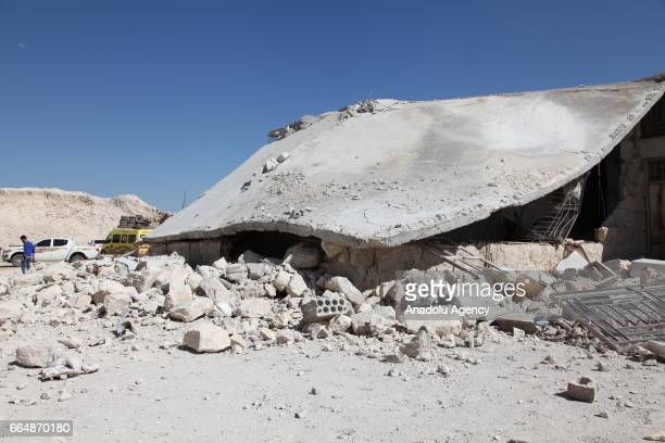 A collapsed building is seen in the town of Khan Shaykun Idlib province Syria on April 05 2017 On Tuesday more than 100 civilians had been killed and...