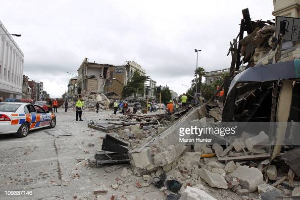 Collapsed buildings in Manchester Street on February 22 2011 in Christchurch New Zealand The 63 magnitude earthquake an aftershock of the 71...