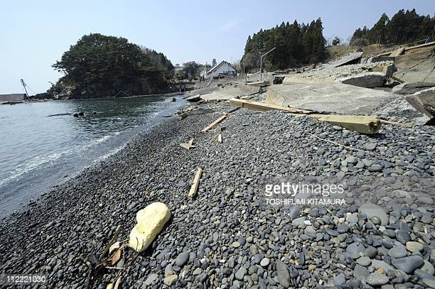A collapsed concrete wall destroyed by the March 11 tsunami lies on the 'Goishi' beach a place appreciated for its scenic beauty in Ofunato city...