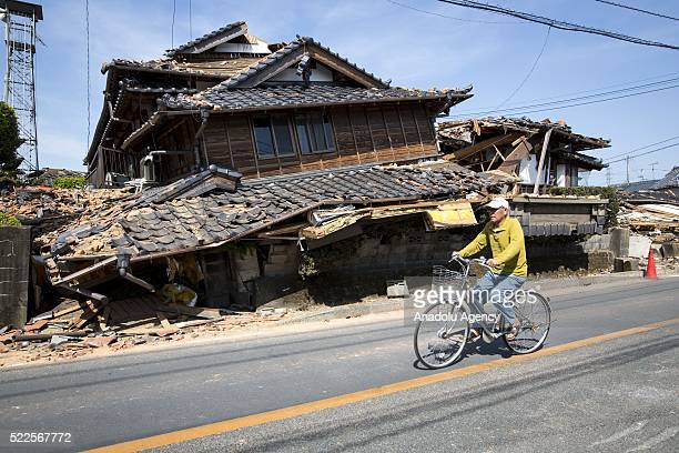A collapsed house is seen after an earthquake in the morning on April 20 2016 in Mashiki town Kumamoto Japan As of April 45 people were confirmed...