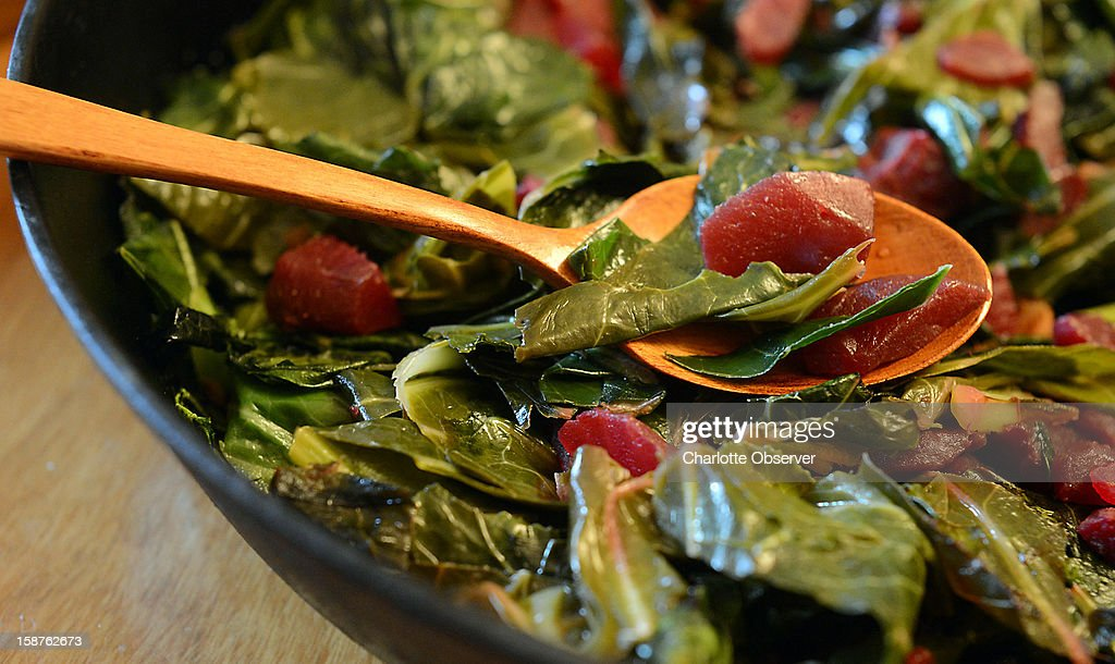 Collards with beets put a twist on the traditional New Year's food.