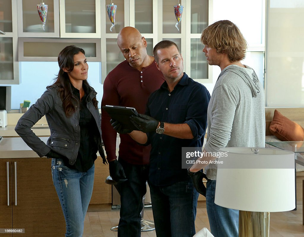 """'Collateral'"""" Pictured (L-R): Daniela Ruah (Special Agent Kensi Blye), LL COOL J (Special Agent Sam Hanna), Chris O'Donnell (Special Agent G. Callen) and Eric Christian Olsen (LAPD Liaison Marty Deeks). The"""