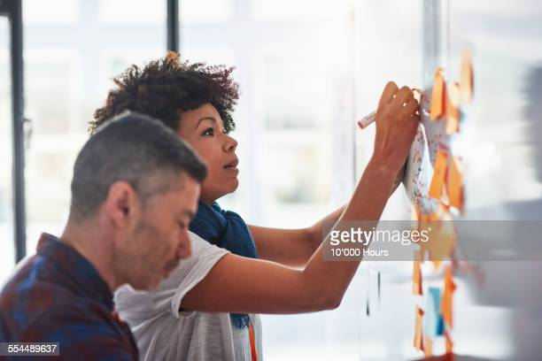 Colleagues brainstorming in a tech start-up office
