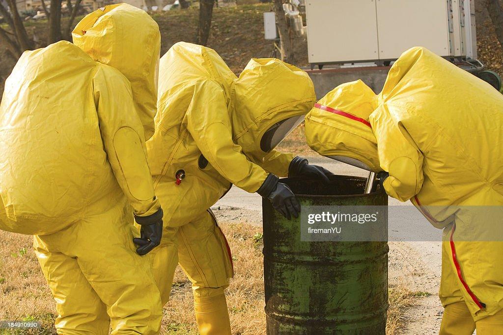 Collecting hazardous material : Stock Photo
