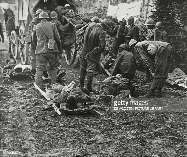Collecting the wounded along the Mount San Marco front Italy World War I from L'Illustrazione Italiana Year XLIV No 26 July 1 1917