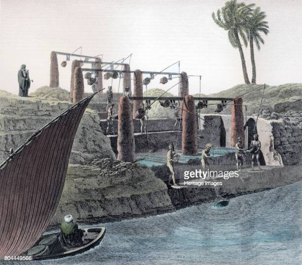 Collecting water from the Nile Egypt c1798 Shadufs being used to raise water from the River Nile A shaduf is an irrigation tool originally developed...