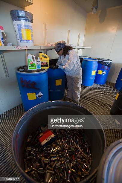 Collection Center Sun Valley Bureau of Sanitation for the City of Los Angeles California USA Batteries solvents and cleaning materials get put in...