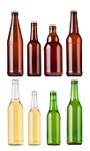 Collection different types and colors beer bottles, isolated, mock up. Template for advertising, design, branding identity.