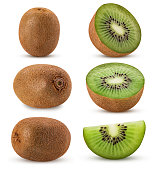Collection kiwi fruit, whole, half, slice isolated on white background. Clipping Path. Full depth of field.