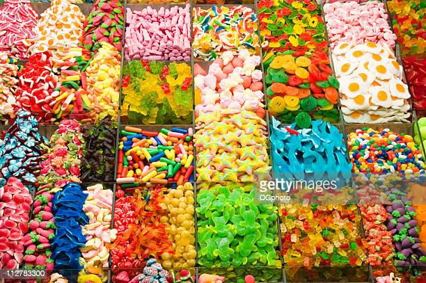 Collection of a colorful assortment of candy