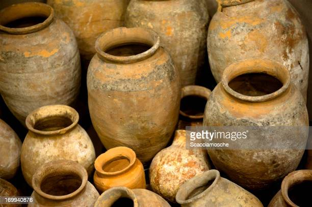 Collection of ancient urns and jugs - amphorae