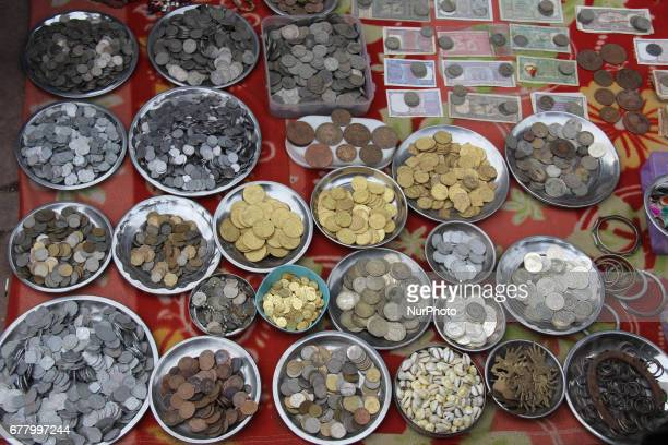 Collection of Antique rare coins on sale in Kolkata India on May 3 2017