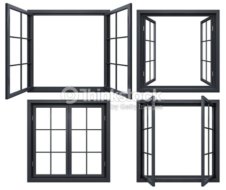 Collection Of Black Window Frames Isolated On White Stock Photo ...
