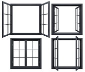 3D render of black isolated window open, closed frames