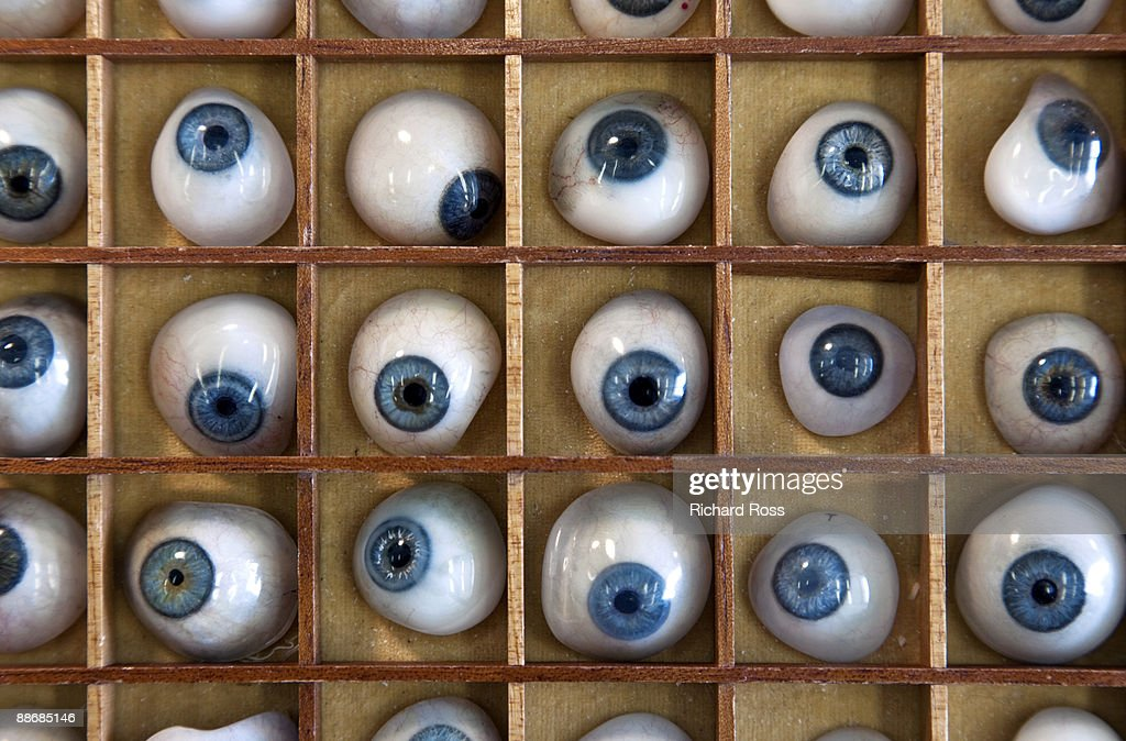 A collection of blue prosthetic eyes : Stock Photo