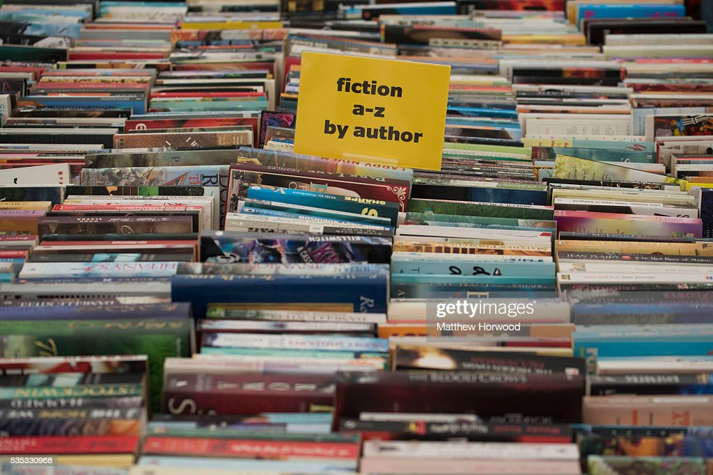 A collection of books in a bookshop during the 2016 Hay Festival on May 29, 2016 in Hay-on-Wye, Wales. The Hay Festival is an annual festival of literature and arts now in its 29th year.