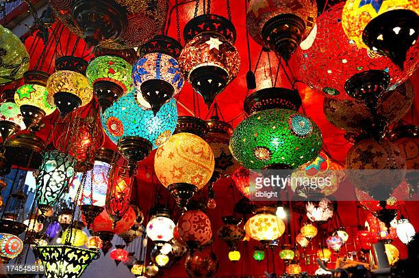 Collection of brightly colored Turkish hanging lamps