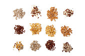 Collection of Cereal Grains and Seeds -flaxseed; corn; wheat; sunflower seeds; spelled; rye; sesame; oats