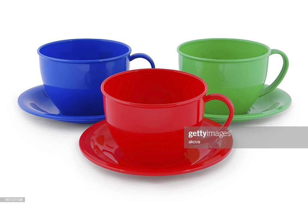 Collection of children's toys cups (Clipping path) : Stock Photo