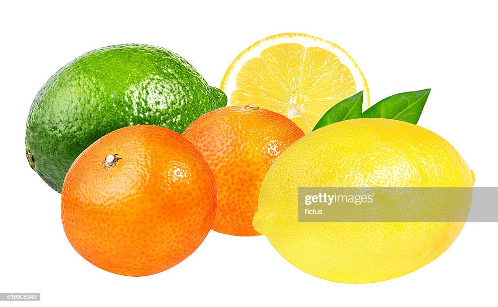 Collection of citrus(lime,mandarins ,lemon) isolated on white : Stock Photo
