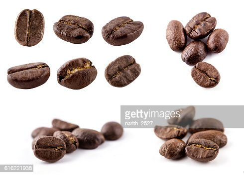 Collection of Coffee beans isolated on white background : Stockfoto