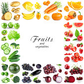 Collection of color fruits and vegetables on white background. Frame. Fresh food