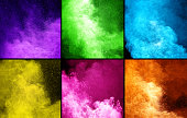 collection of six colored powder explosions in square frames