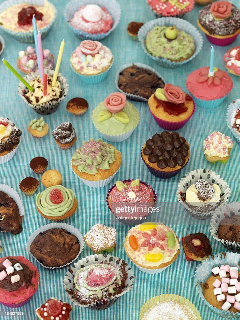 Collection of colorful muffins