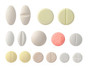 Collection of colorful pills, Clipping path,  isolated on white,