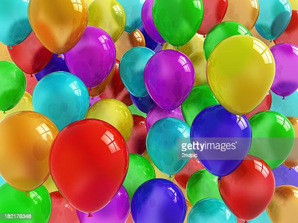 Collection of colorful, shiny balloons