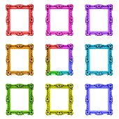 Collection of colourful baroque old frames, isolated on white background