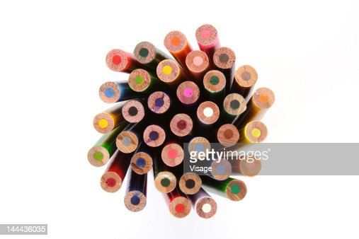 Collection of colouring pencils, Close-up : Stock Photo
