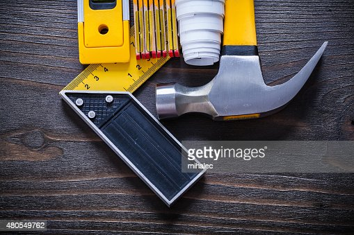 Collection of construction objects for maintenance works on vint : Stock Photo