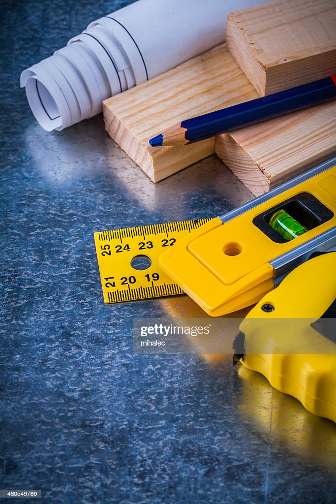 Collection of construction working tools on metallic scratched b : Stock Photo