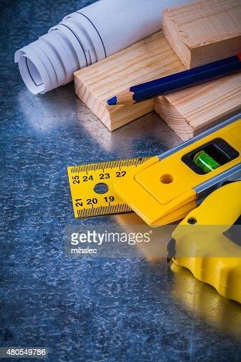Coleção de ferramentas de trabalho de construção metálicas riscado b : Foto de stock