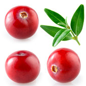 Cranberry with leaf. Collection on white background