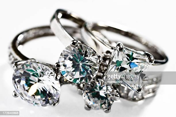 collection de diamants anneaux platinum