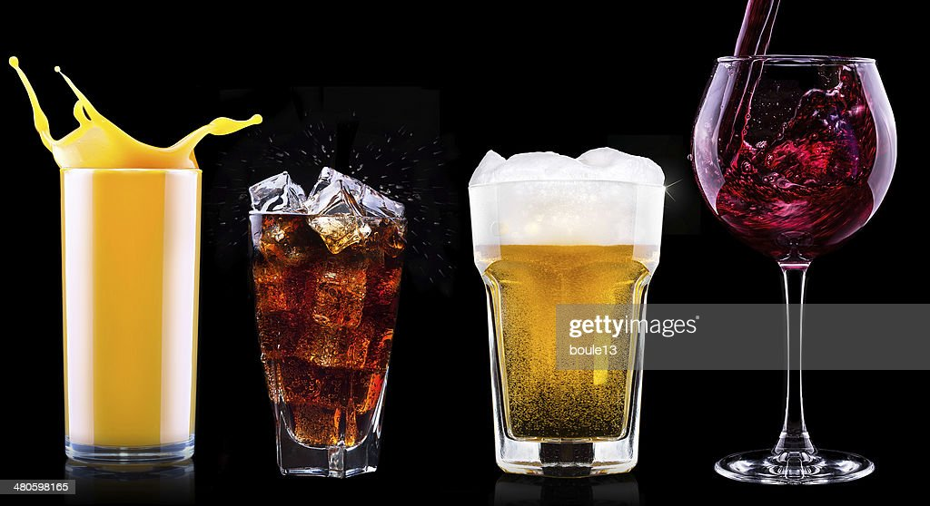 Collection of different images alcohol isolated : Stock Photo