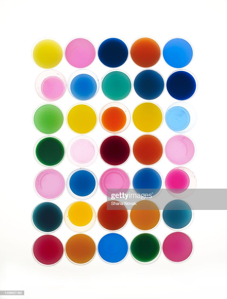Collection of Dyes in Glasses : Stock Photo