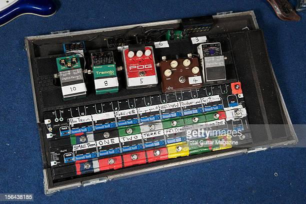 A collection of electric guitar effects pedals used by British indie rock band The Maccabees Photographed during a portrait shoot for Total Guitar...