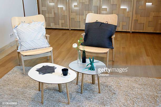 A collection of everyday homeware by Finnish brand iittala and Japanese designer Issey Miyake is displayed at the Finnish Embassy on February 16 2016...