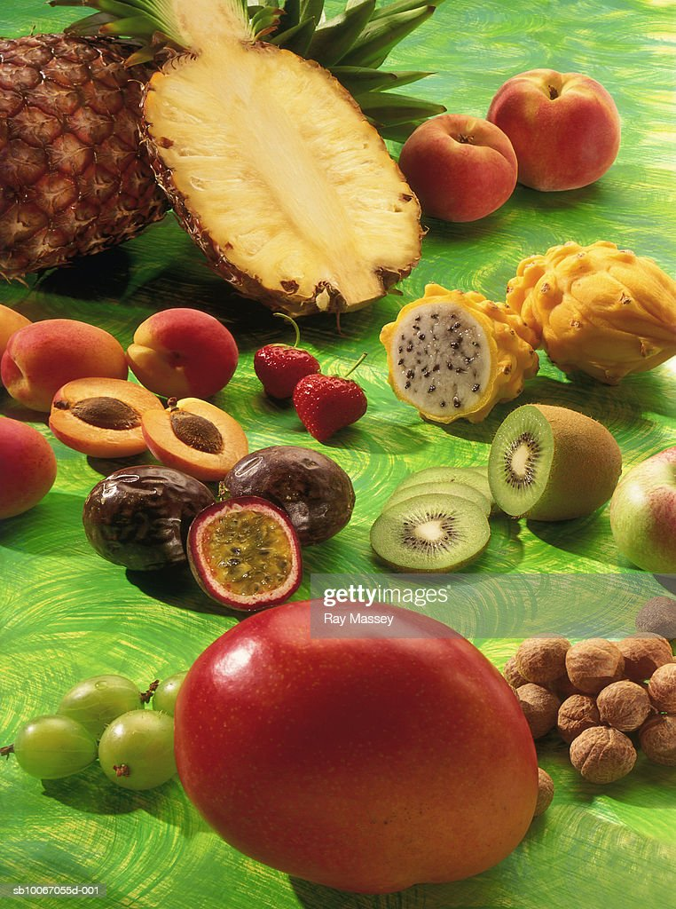 Collection of exotic fruits : Stock Photo